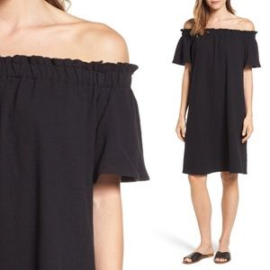 Off Shoulder Slub Knit Cotton Shift Sundress Black